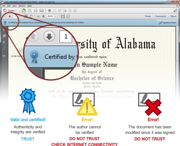 Screenshot blue ribbon digital security on CeDiploma