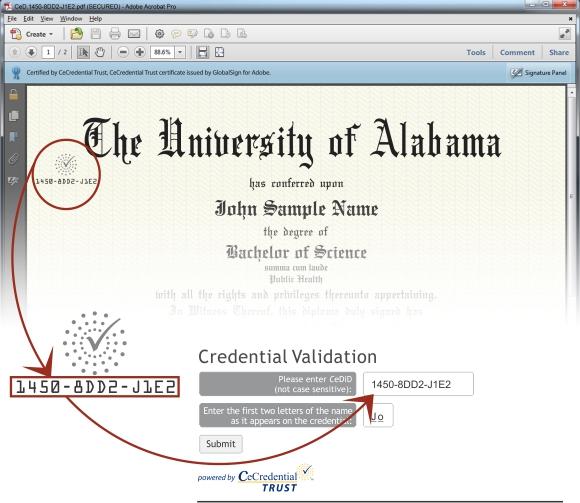 Screenshot showing CeDiploma Validation Explanation